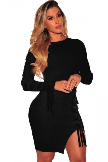 Womens Long Sleeve Cross Lace Up Slit?Knit?Sweater Bodycon Dress Black