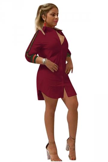 Womens Sexy V-Neck Stripe Long Sleeve Slit Shirt Clubwear Dress Ruby