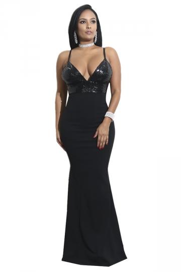 Womens Sexy V-Neck Sequin Spaghetti Strap Backless Maxi Dress Black