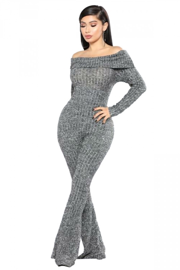 Womens Sexy Off Shoulder Long Sleeve Flared Plain Jumpsuit Gray