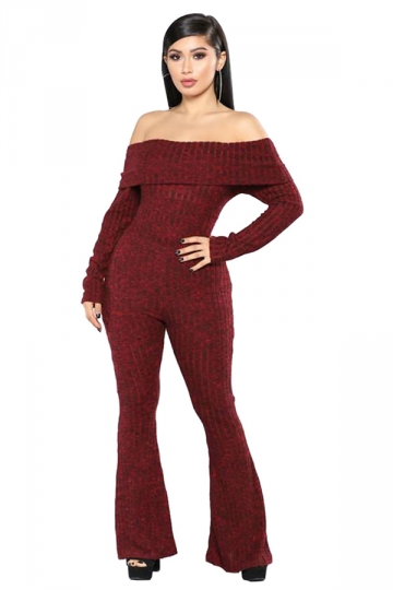 Womens Sexy Off Shoulder Long Sleeve Flared Plain Jumpsuit Ruby