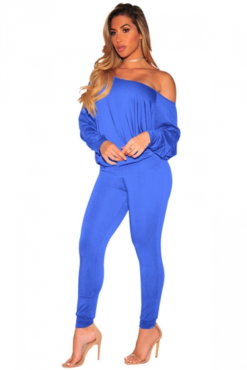 Womens Sexy One Shoulder Puff Sleeve High Waisted Jumpsuit Blue