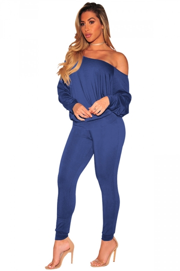 Womens One Shoulder Puff Sleeve High Waisted Jumpsuit Sapphire Blue