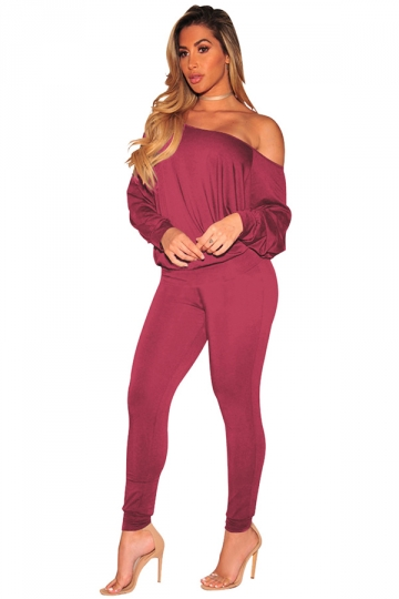 Womens Sexy One Shoulder Puff Sleeve High Waisted Jumpsuit Ruby