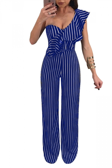 Womens Sexy One Shoulder Ruffle Wide Leg Striped Jumpsuit Blue