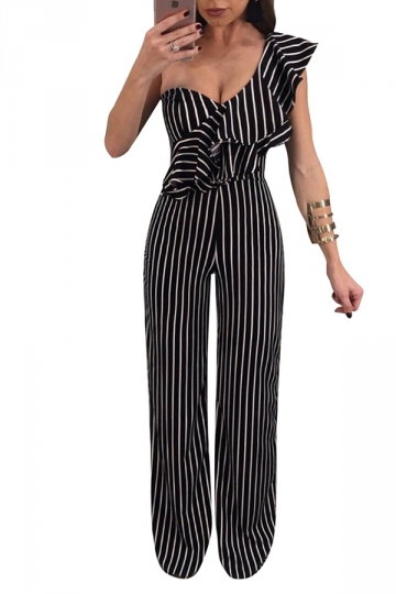 Womens Sexy One Shoulder Ruffle Wide Leg Striped Jumpsuit Black