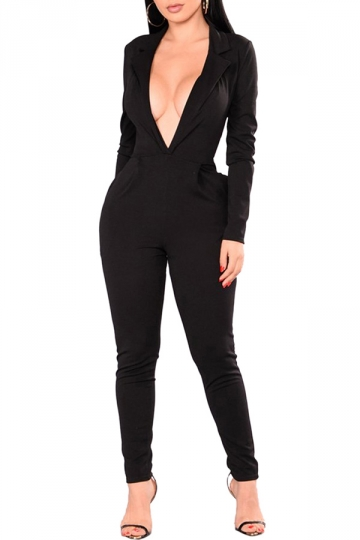 Womens Sexy Deep V-Neck High Waisted Long Sleeve Plain Jumpsuit Black