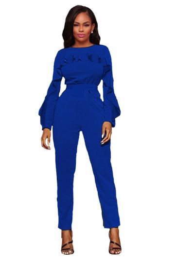 Womens Elegant Ruffle High Waisted Long Sleeve Plain Jumpsuit Blue