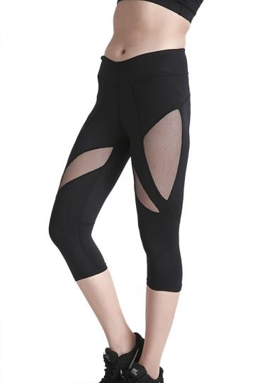 Womens Skinny Elastic Fishnet High Waisted Plain Capri Leggings Black