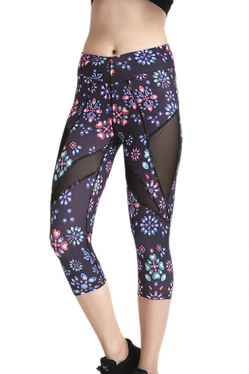 Womens Skinny Elastic Fishnet Printed Capri Leggings Dark Purple