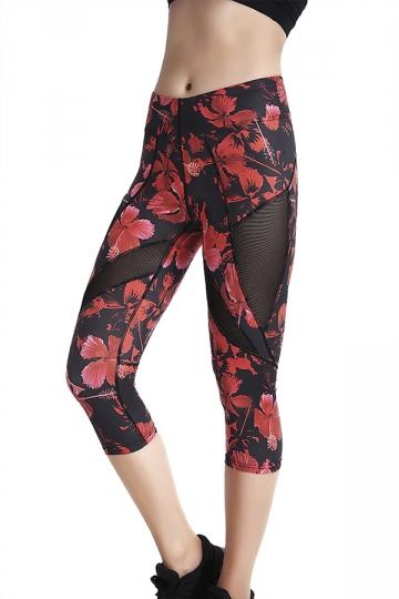 Womens Skinny Elastic Fishnet Printed Capri Leggings Dark Red