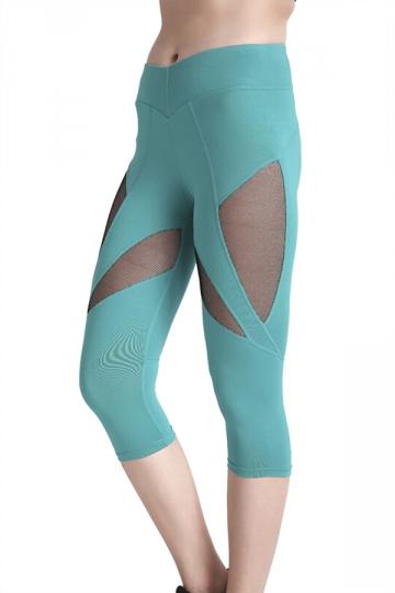 Womens Skinny Elastic Fishnet High Waisted Plain Capri Leggings Green