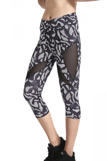 Womens Skinny Elastic Fishnet High Waisted Printed Capri Leggings Gray