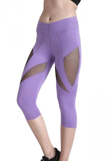 Womens Skinny Elastic Fishnet High Waisted Plain Capri Leggings Purple