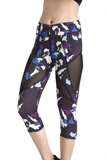 Womens Skinny Elastic Fishnet Printed Capri Leggings Sapphire Blue