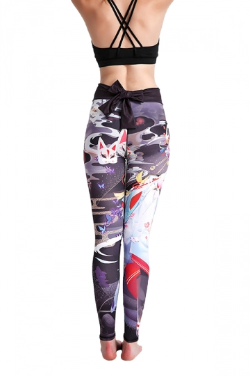 Womens Elastic High Waisted Back Bow Printed Leggings Dark Gray