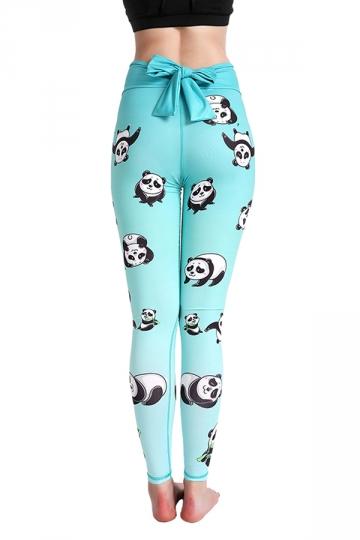 Womens Elastic High Waisted Back Bow Panda Printed Leggings Light Blue