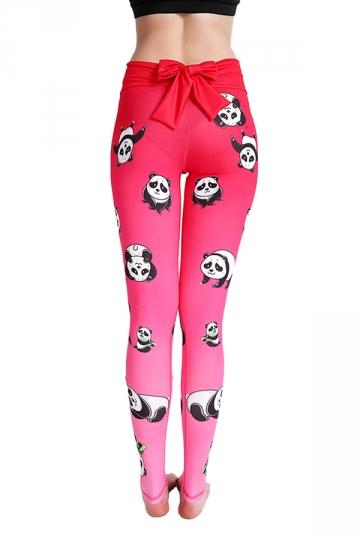 Womens Elastic High Waisted Back Bow Panda Printed Leggings Rose Red
