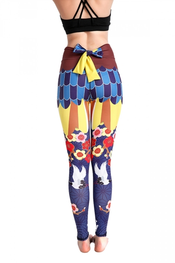 Womens Elastic High Waisted Back Bow Flower Printed Leggings Yellow