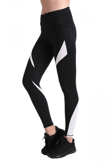Womens Close-Fitting Elastic Color Block High Waisted Leggings Black