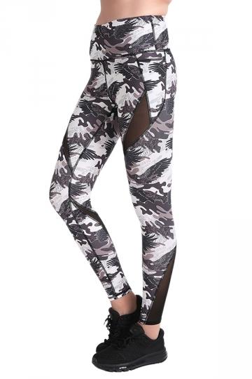 Womens Elastic Fishnet High Waisted Printed Leggings Dark Gray