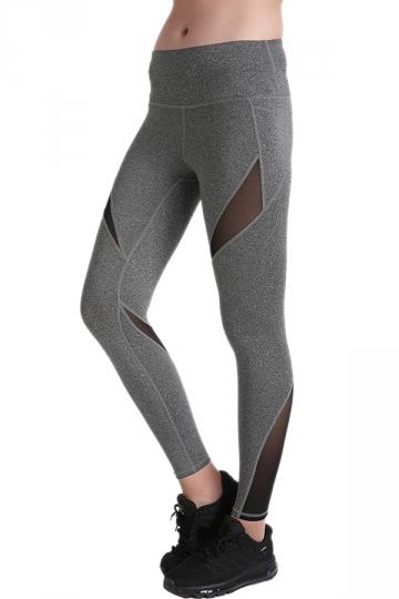 Womens Close-Fitting Elastic Color Block High Waisted Leggings Gray