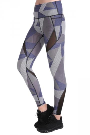 Womens Elastic Fishnet High Waisted Printed Leggings Light Gray