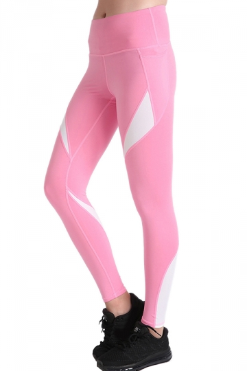 Womens Close-Fitting Elastic Color Block High Waisted Leggings Pink