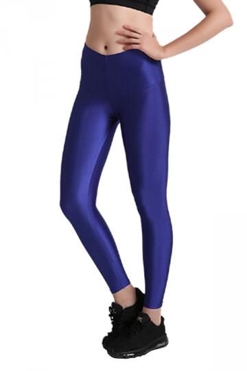 Womens Close-Fitting Elastic High Waisted Plain Leggings Blue