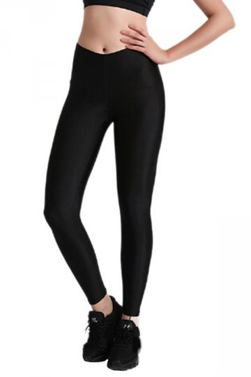 Womens Close-Fitting Elastic High Waisted Plain Leggings Black