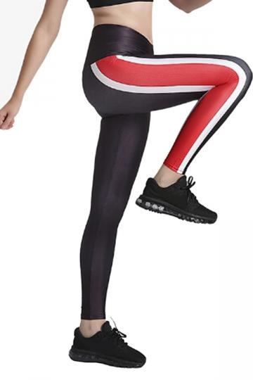 Womens Elastic Skinny High Waisted Stripe Printed Leggings Brown