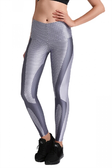 Womens Elastic Skinny High Waisted Mermaid Printed Leggings Gray