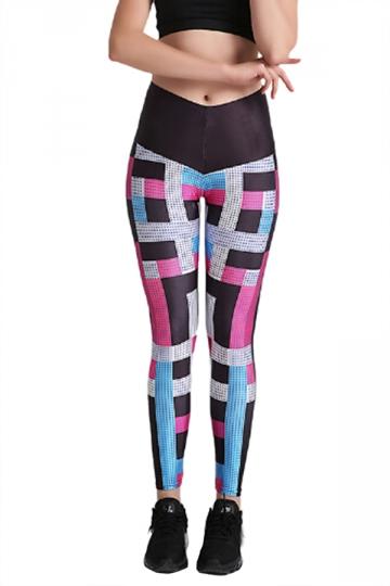Womens Elastic Skinny High Waisted Color Block Printed Leggings
