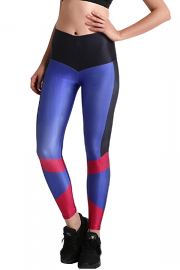 Womens Close-Fitting High Waisted Color Block Printed Leggings Purple
