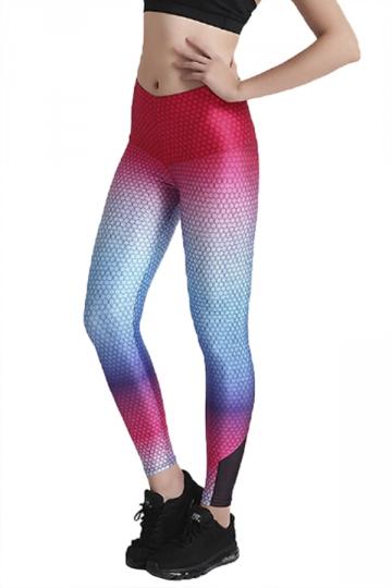 Womens Elastic Skinny Mermaid Gradient Color High Waisted Leggings Red
