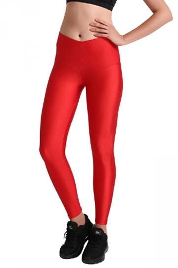 Womens Close-Fitting Elastic High Waisted Plain Leggings Ruby