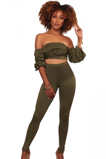 Womens Sexy Off Shoulder Puff Sleeve Crop Top&Leggings Suit Army Green