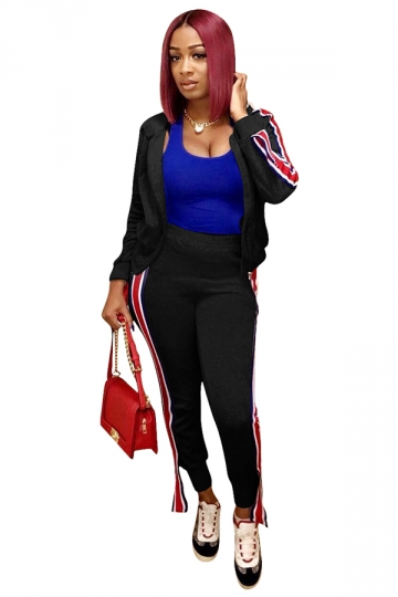 Womens Zipper Long Sleeve Hoodie&Striped Pants Sports Suit Black