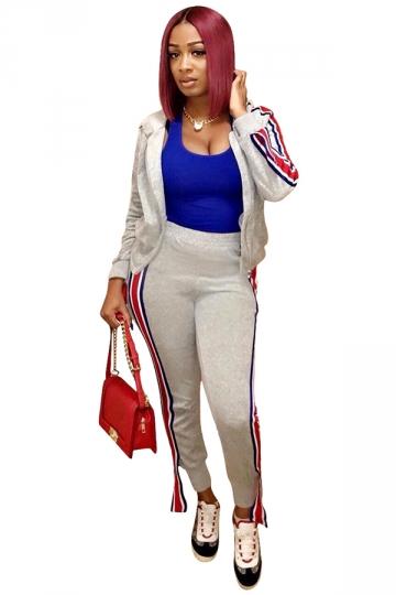 Womens Zipper Long Sleeve Hoodie&Striped Pants Sports Suit Gray