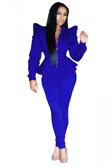 Womens Stylish Zipper Ruffle Shoulder Top&Leggings Plain Suit Blue