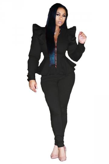 Womens Stylish Zipper Ruffle Shoulder Top&Leggings Plain Suit Black