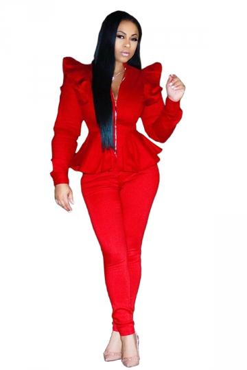Womens Stylish Zipper Ruffle Shoulder Top&Leggings Plain Suit Red