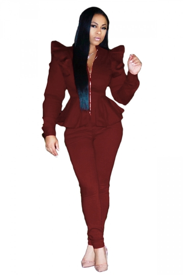 Womens Stylish Zipper Ruffle Shoulder Top&Leggings Plain Suit Ruby