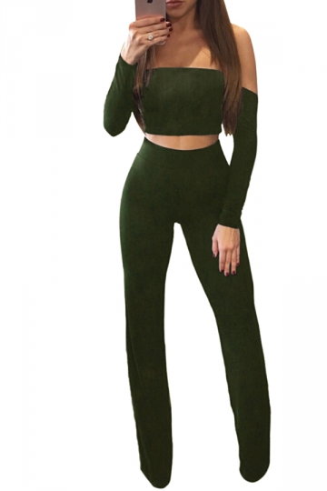 Womens Off Shoulder Lace Up Crop Top&Wide Leg Pants Suit Army Green