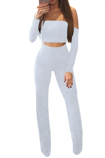 Womens Sexy Off Shoulder Lace Up Crop Top&Wide Leg Pants Suit White