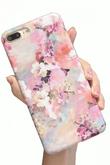 Pink Durable Floral Printed with TPU Bumper Edge Case for iPhone
