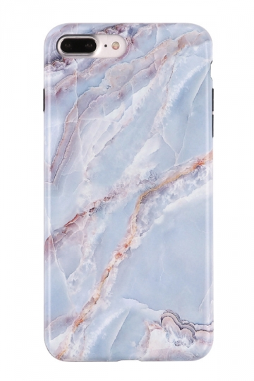 Blue Durable Marble Back Shell with TPU Bumper Edge Case for iPhone