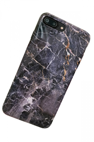 Black Durable Marble Back Shell with TPU Bumper Edge Case for iPhone