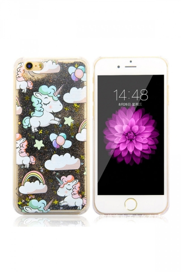 Black Durable Silicone Unicorn Printed Transparent Case for iPhone