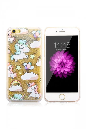 Gold Durable Soft Silicone Unicorn Printed Transparent Case for iPhone